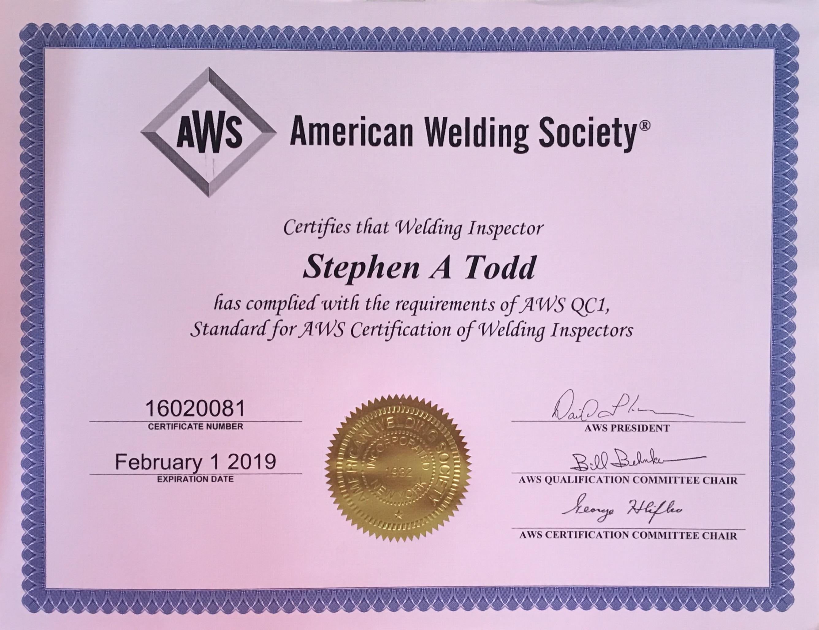Certifications Stephen Todd
